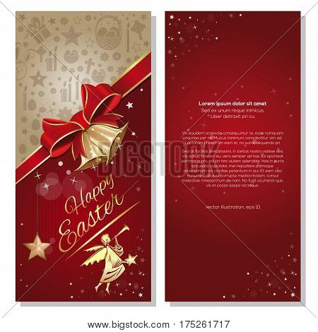 Happy Easter. Festive red background with ribbon, bow, angel and jingle bells. Vector flyer template for Easter. Front and back. Easter greeting card