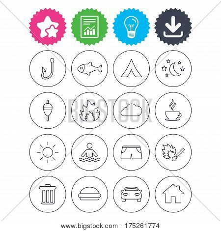 Download, light bulb and report signs. Camping and fishing icons. Tourist tent, fire and match symbols. Coffee cup and hamburger. Car and house. Fish, hook and float bobber thin outline signs. Vector