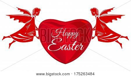 Happy Easter. Angels, big red heart with greeting inscription. Easter greeting card. Design element for Easter card. Angel, Cherubim isolated on white background. Vector illustration