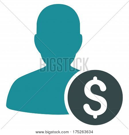 Investor vector icon. Illustration style is a flat iconic bicolor soft blue symbol on white background.