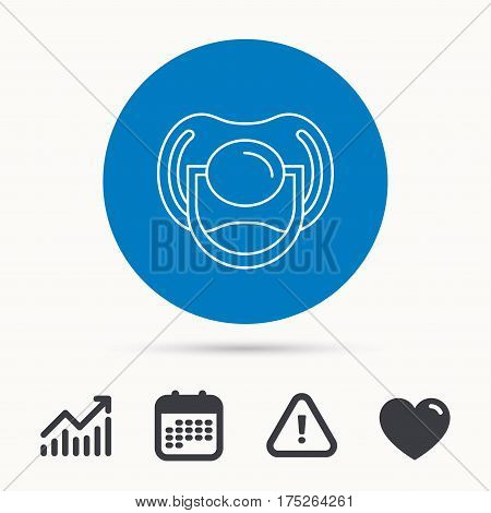 Pacifier icon. Nipple or dummy sign. Newborn child relax equipment symbol. Calendar, attention sign and growth chart. Button with web icon. Vector