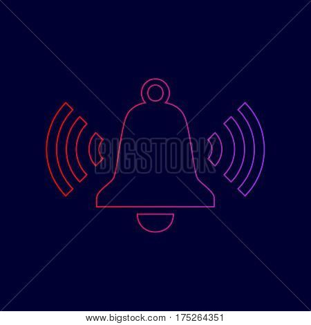 Ringing bell icon. Vector. Line icon with gradient from red to violet colors on dark blue background.