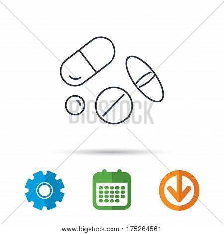Pills icon. Medicine tablets or drugs sign. Vitamins symbol. Calendar, cogwheel and download arrow signs. Colored flat web icons. Vector