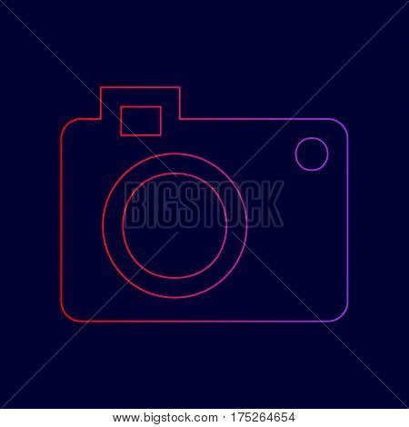 Digital camera sign. Vector. Line icon with gradient from red to violet colors on dark blue background.