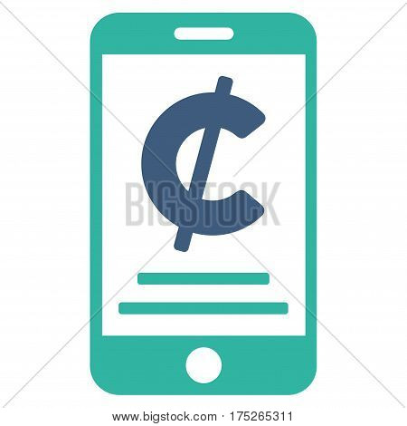 Cent Mobile Payment vector icon. Illustration style is a flat iconic bicolor cobalt and cyan symbol on white background.