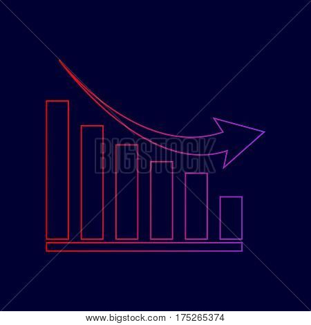 Declining graph sign. Vector. Line icon with gradient from red to violet colors on dark blue background.
