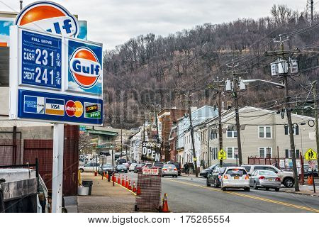 PATERSON NEW JERSEY- MARCH 6 - A view of Paterson NJ and the gas prices at this Shell station on March 6 2017 in New Jersey.