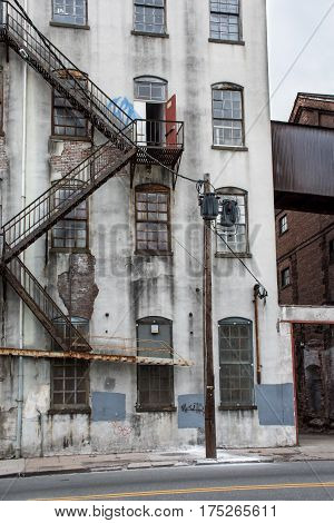 Old industrial building wall as seen in Paterson NJ.