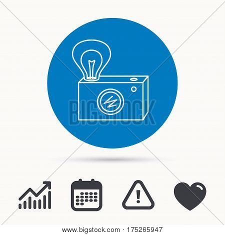 Retro photo camera icon. Photographer equipment sign. Camera with lamp flash. Calendar, attention sign and growth chart. Button with web icon. Vector