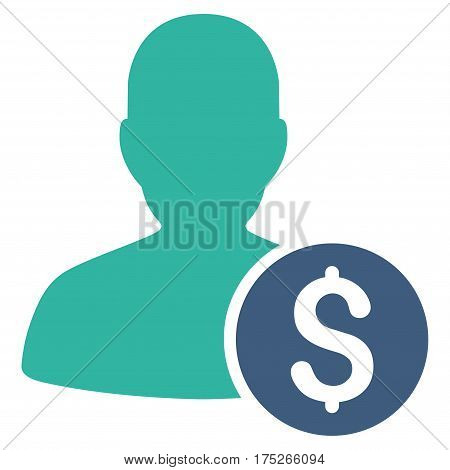 Investor vector pictograph. Illustration style is a flat iconic bicolor cobalt and cyan symbol on white background.