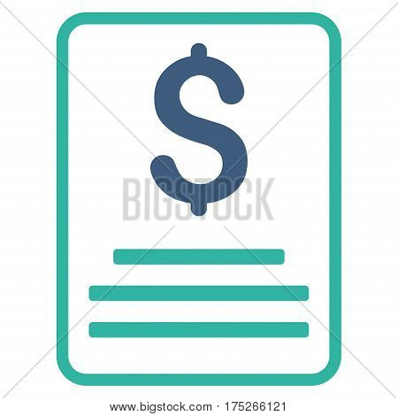 Invoice Budget vector pictogram. Illustration style is a flat iconic bicolor cobalt and cyan symbol on white background. poster