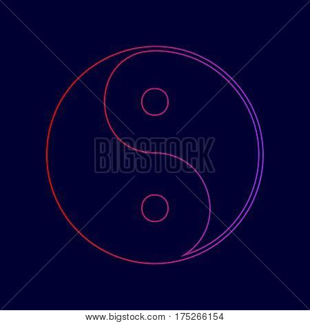Ying yang symbol of harmony and balance. Vector. Line icon with gradient from red to violet colors on dark blue background.