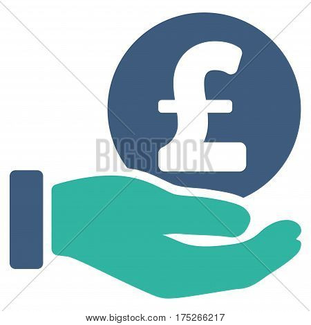 Pound Coin Payment Hand vector pictogram. Illustration style is a flat iconic bicolor cobalt and cyan symbol on white background.