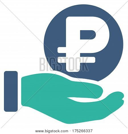Rouble Coin Payment Hand vector pictograph. Illustration style is a flat iconic bicolor cobalt and cyan symbol on white background.