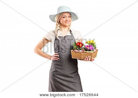 Florist holding flowers isolated on white background