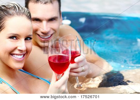 Young couple relaxing in the water.  Love.