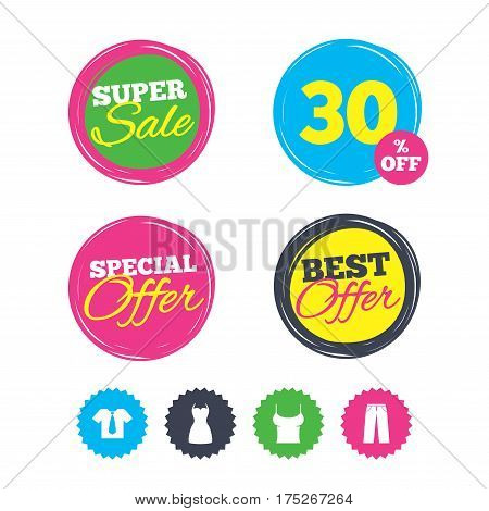 Super sale and best offer stickers. Clothes icons. T-shirt with business tie and pants signs. Women dress symbol. Shopping labels. Vector