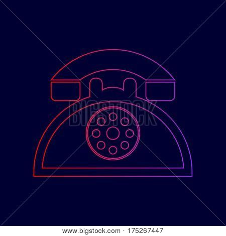 Retro telephone sign. Vector. Line icon with gradient from red to violet colors on dark blue background.