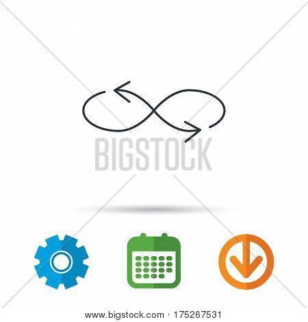 Shuffle icon. Mixed arrows sign. Randomize symbol. Calendar, cogwheel and download arrow signs. Colored flat web icons. Vector
