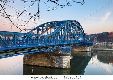 Pilsudzki bridge at sunset in Krakow Poland