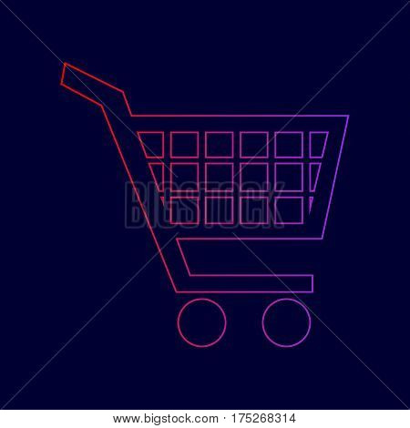 Shopping cart sign. Vector. Line icon with gradient from red to violet colors on dark blue background.