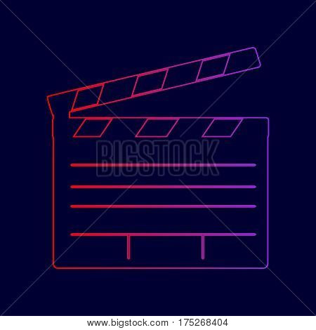 Film clap board cinema sign. Vector. Line icon with gradient from red to violet colors on dark blue background.