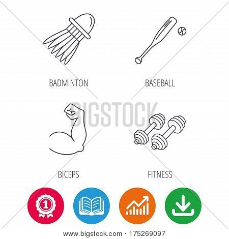 Fitness sport, biceps and baseball icons. Badminton linear sign. Award medal, growth chart and opened book web icons. Download arrow. Vector