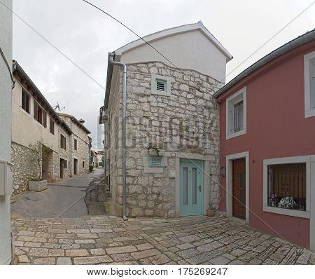 Old Stone Houses and Street in Rovinj Croatia