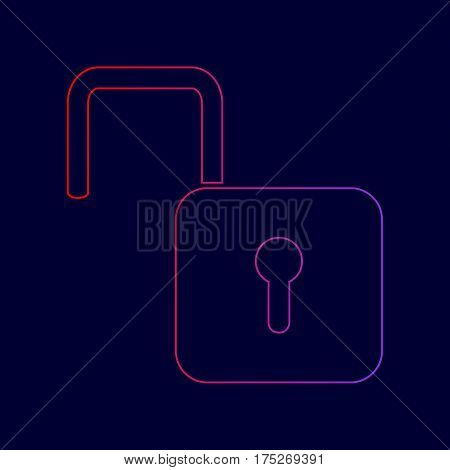 Unlock sign illustration. Vector. Line icon with gradient from red to violet colors on dark blue background.