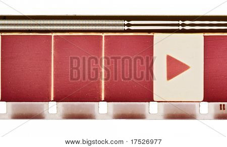16mm vintage motion film strip sample with frames, soundtrack and play symbol. Isolated on white background.