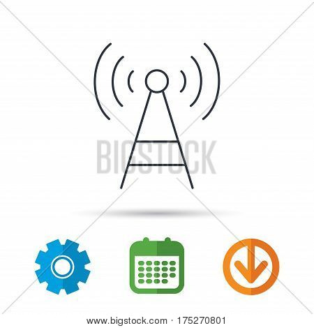 Telecommunication tower icon. Signal sign. Wireless wifi network symbol. Calendar, cogwheel and download arrow signs. Colored flat web icons. Vector