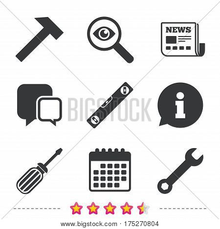 Screwdriver and wrench key tool icons. Bubble level and hammer sign symbols. Newspaper, information and calendar icons. Investigate magnifier, chat symbol. Vector