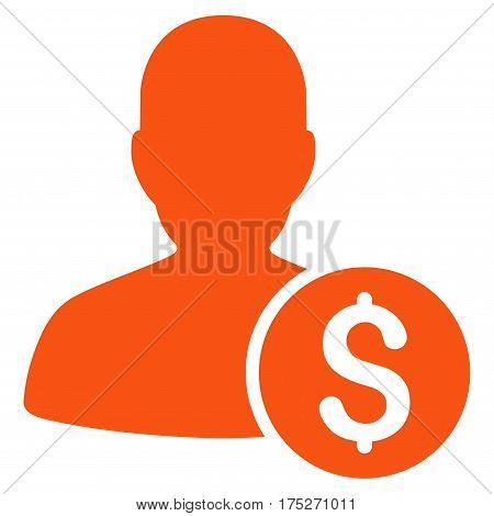 Investor vector icon. Illustration style is a flat iconic orange symbol on white background.