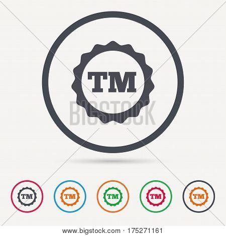 Registered TM trademark icon. Intellectual work protection symbol. Round circle buttons. Colored flat web icons. Vector