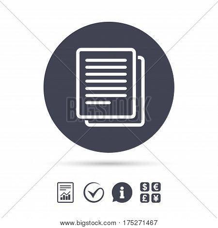 Copy file sign icon. Duplicate document symbol. Report document, information and check tick icons. Currency exchange. Vector