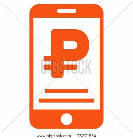 Rouble Mobile Payment vector pictogram. Illustration style is a flat iconic orange symbol on white background.