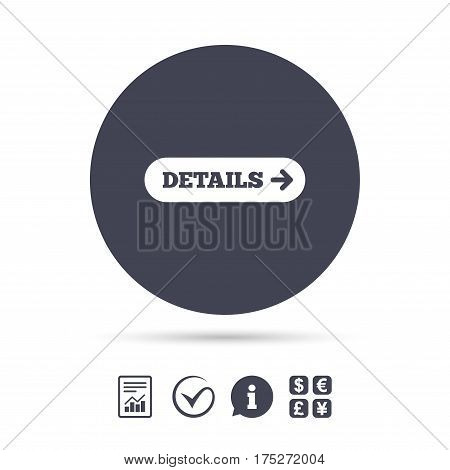 Details with arrow sign icon. More symbol. Website navigation. Report document, information and check tick icons. Currency exchange. Vector