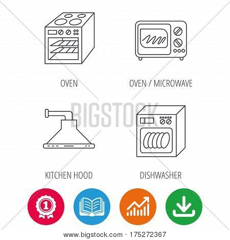 Microwave oven, dishwasher and kitchen hood icons. Oven linear sign. Award medal, growth chart and opened book web icons. Download arrow. Vector