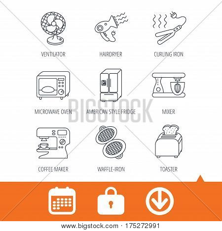 Microwave oven, hair dryer and blender icons. Refrigerator fridge, coffee maker and toaster linear signs. Ventilator, curling iron and waffle-iron icons. Download arrow, locker and calendar web icons