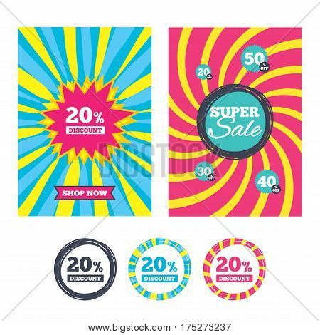 Sale banners and labels. Special offer tags. 20 percent discount sign icon. Sale symbol. Special offer label. Colored web buttons. Vector