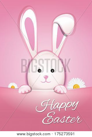 Cute Easter bunny on a pink background. Happy Easter. Symbol of Easter celebrations. Easter Bunny cute cartoon animal. Vector illustration