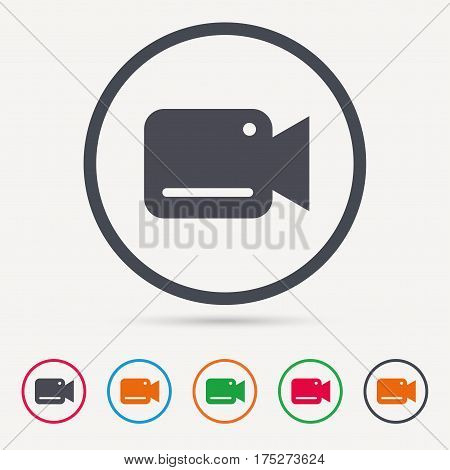 Video camera icon. Film recording cam symbol. Security monitoring. Round circle buttons. Colored flat web icons. Vector