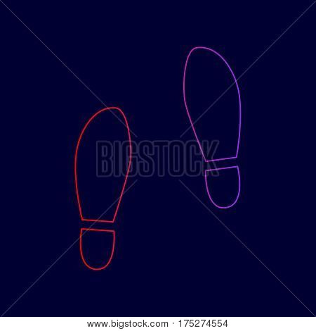 Imprint soles shoes sign. Vector. Line icon with gradient from red to violet colors on dark blue background.
