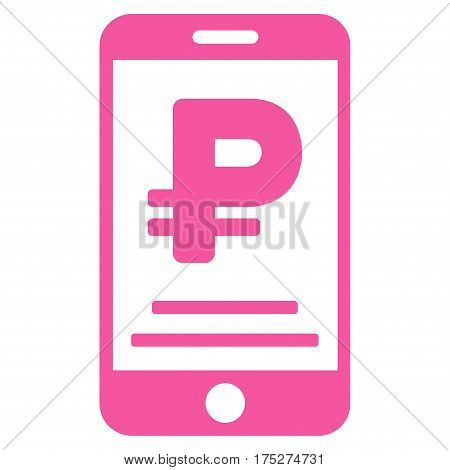 Rouble Mobile Payment vector pictograph. Illustration style is a flat iconic pink symbol on white background.