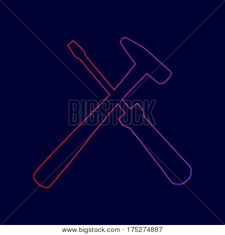 Tools sign illustration. Vector. Line icon with gradient from red to violet colors on dark blue background.