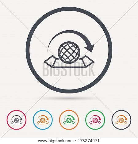 World map icon. Globe with arrow sign. Travel location symbol. Round circle buttons. Colored flat web icons. Vector