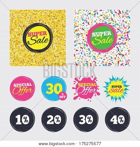 Gold glitter and confetti backgrounds. Covers, posters and flyers design. Sale discount icons. Special offer price signs. 10, 20, 30 and 40 percent off reduction symbols. Sale banners. Vector