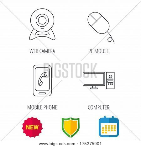 Computer, web camera and mobile phone icons. PC case linear sign. Shield protection, calendar and new tag web icons. Vector