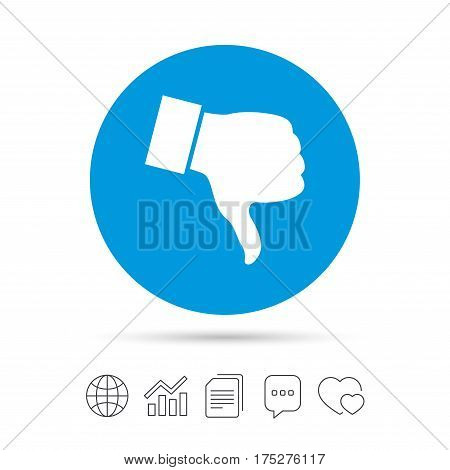 Dislike sign icon. Thumb down sign. Hand finger down symbol. Copy files, chat speech bubble and chart web icons. Vector