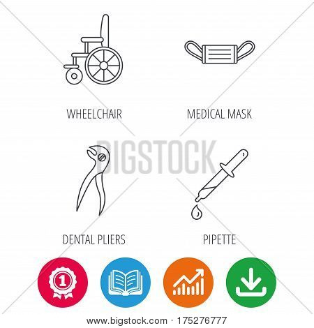 Medical mask, pipette and dental pliers icons. Wheelchair linear sign. Award medal, growth chart and opened book web icons. Download arrow. Vector